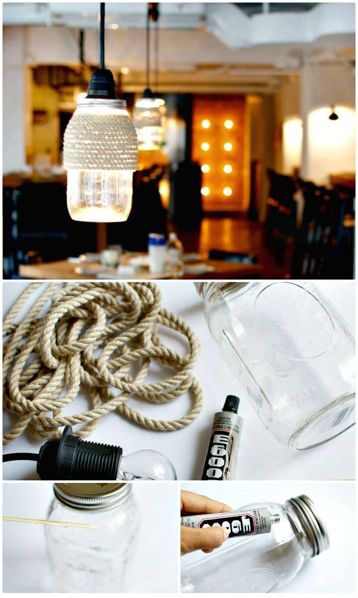 Easy DIY Rope Wrapped Mason jar Lights - Free Tutorial