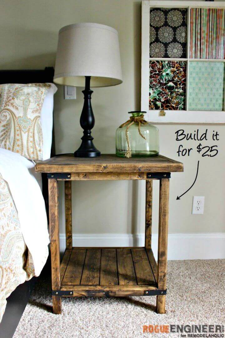 DIY Rustic Square Side Table For Under $25