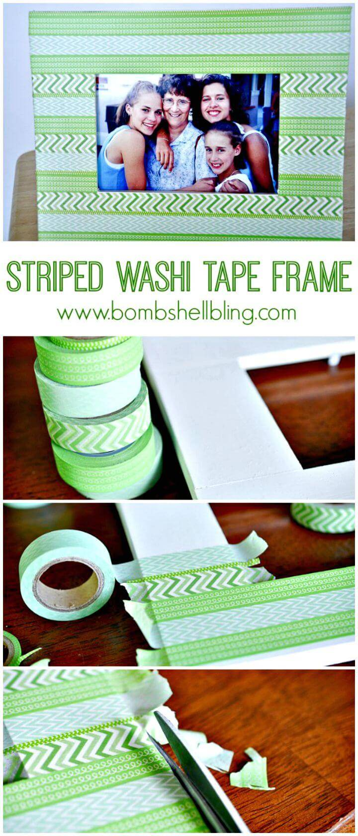 How To Make Striped Washi Tape Frame Tutorial