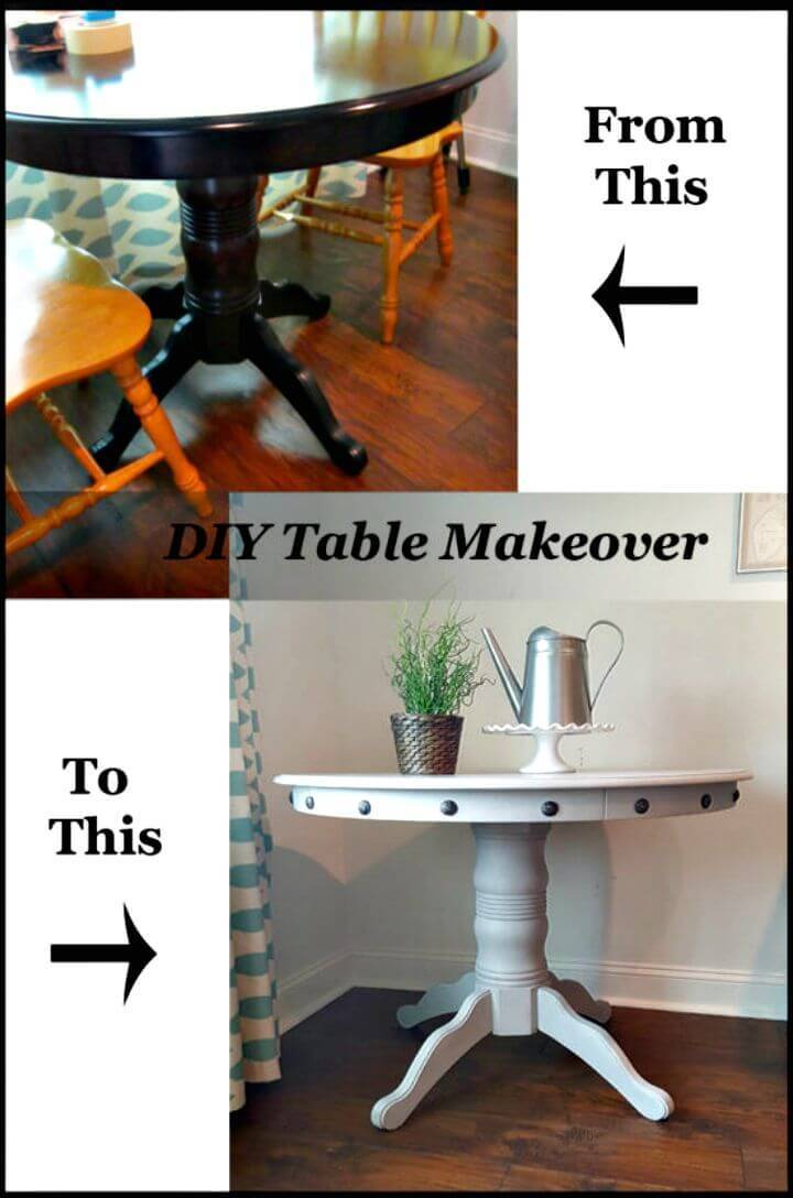 DIY Table Makeover-Adding Nailhead Trim To A Wood Table