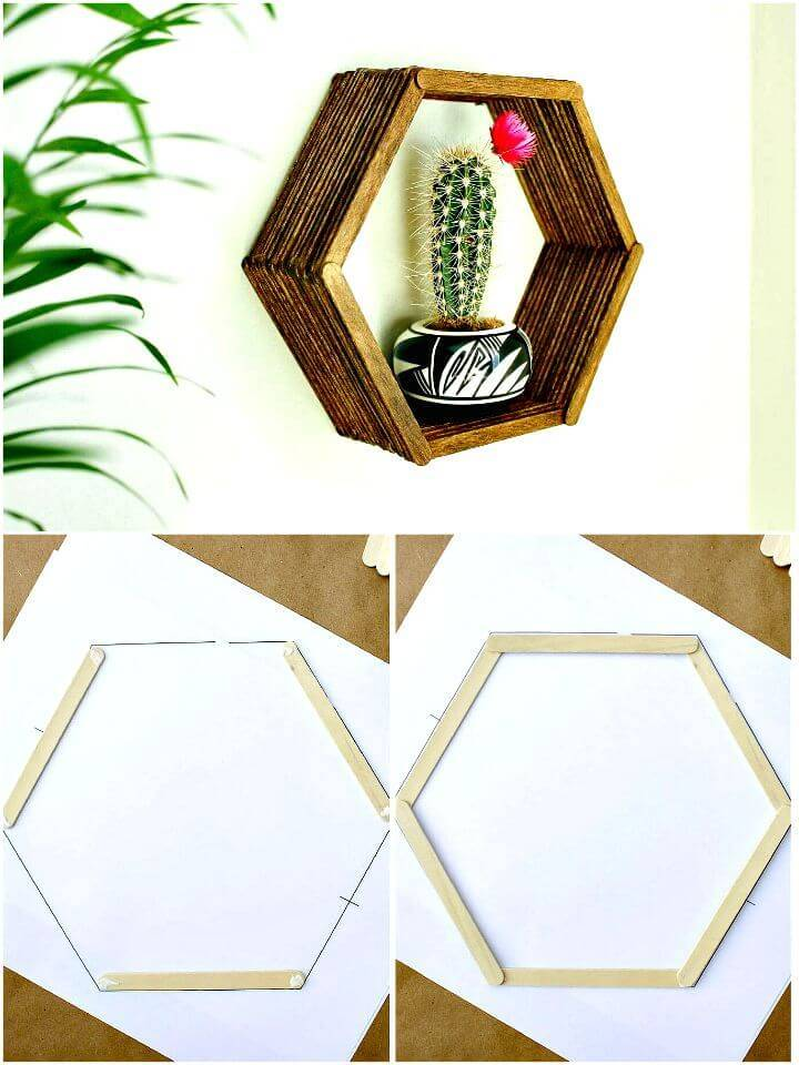 Easy And Gorgeous DIY Wall Art Popsicle Stick Hexagon Shelf Tutorial