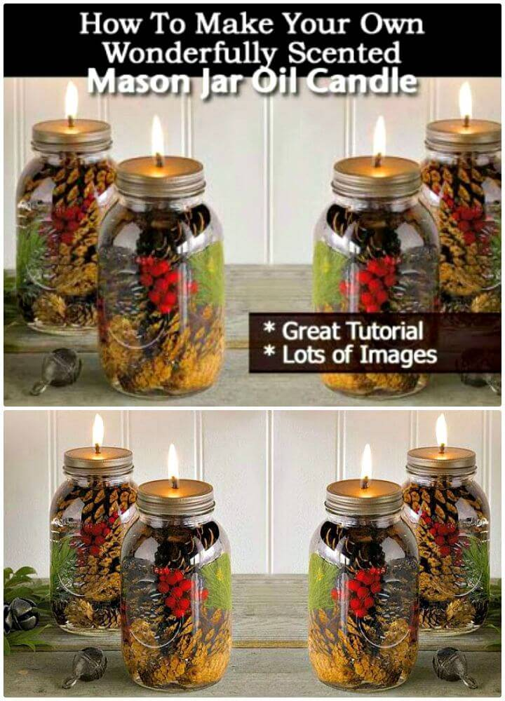 Easy DIY Wonderfully Scented Mason Jar Oil Candle - Free Tutorial