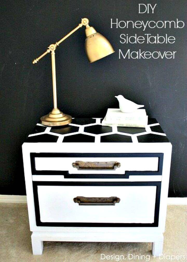 Easy DIY Honeycomb Side Table Using Scotchblue Painters Tape