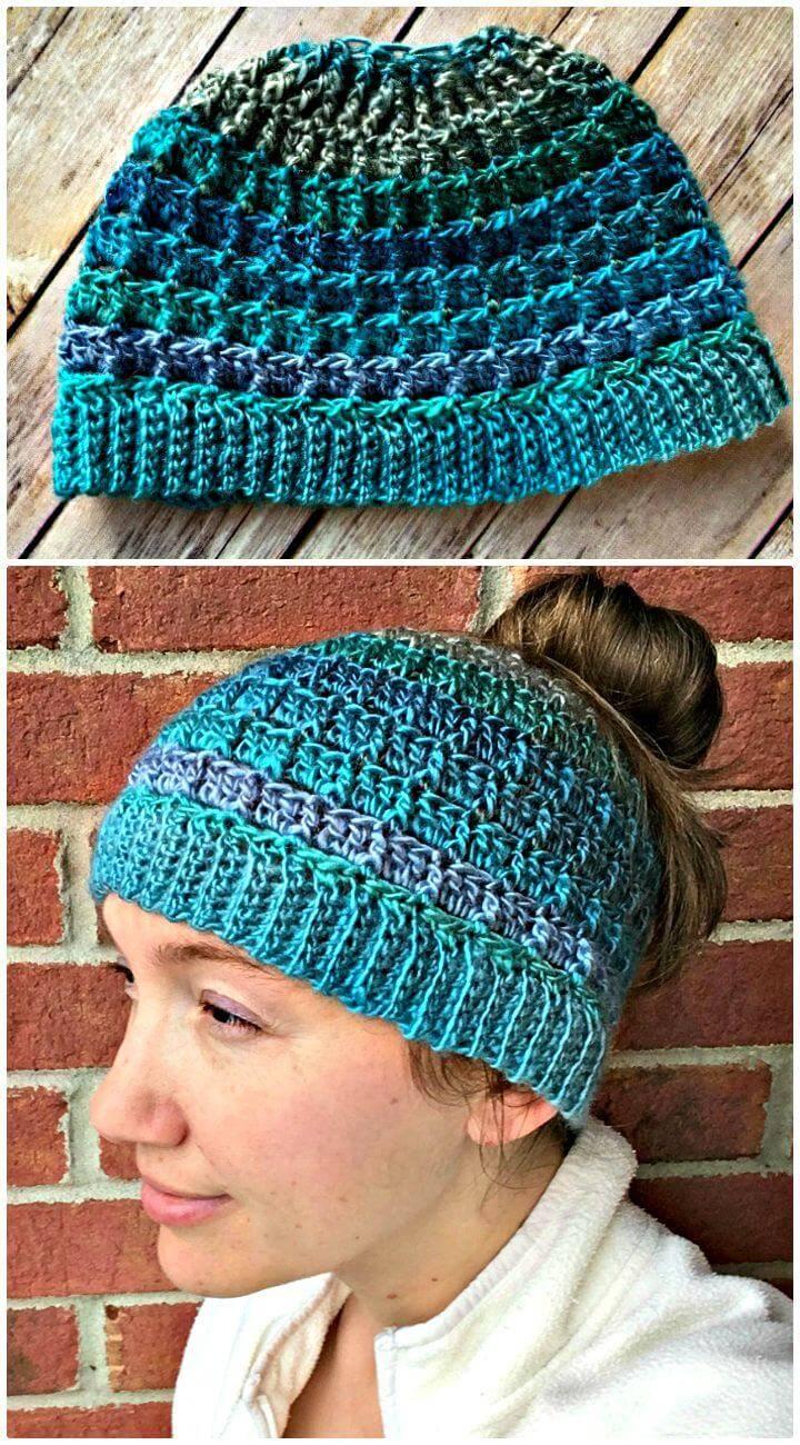 Simple Textured Messy Bun Hat – Free Pattern