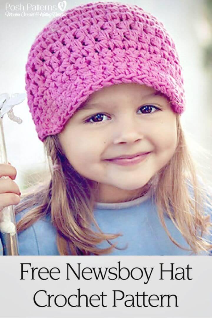 Easy Crochet Newsboy Hat - Free Pattern
