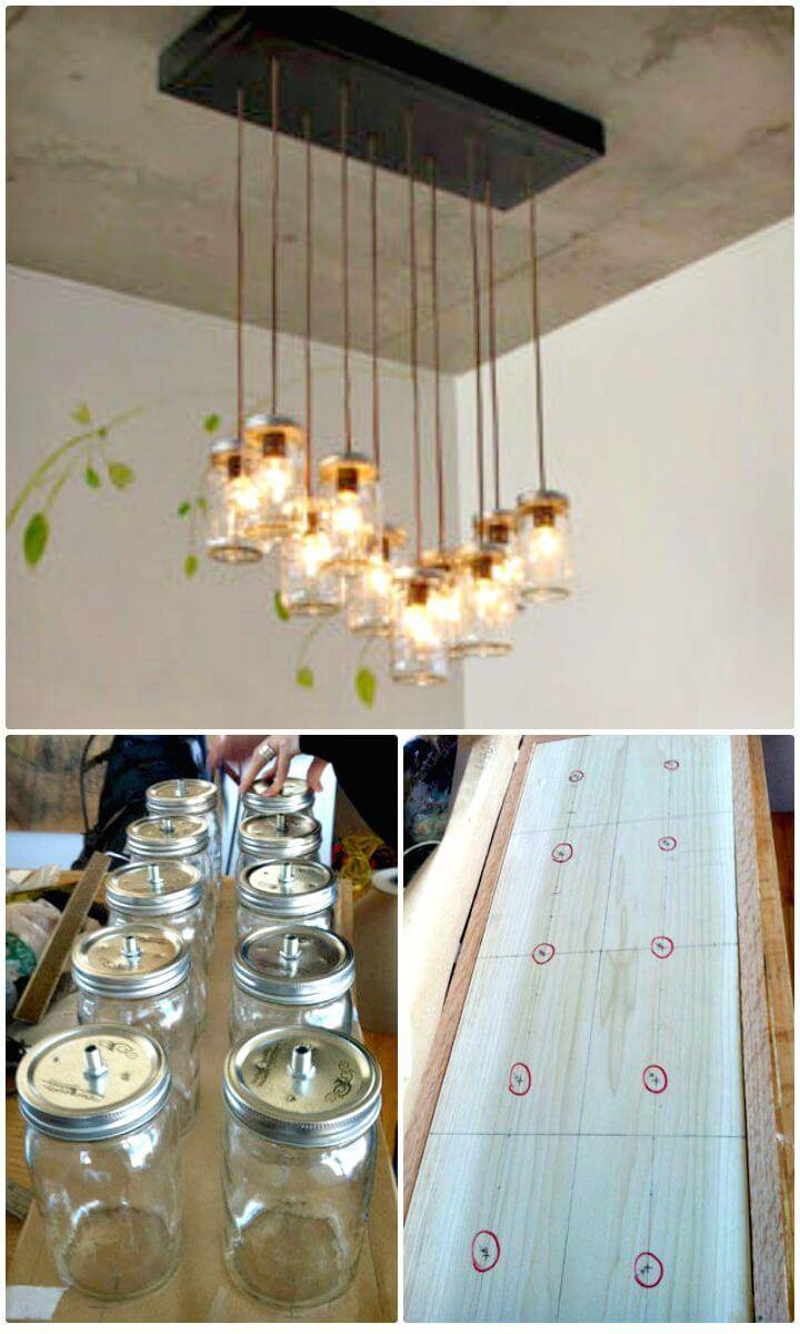How To DIY Mason Jar Chandelier - Homemade Lights