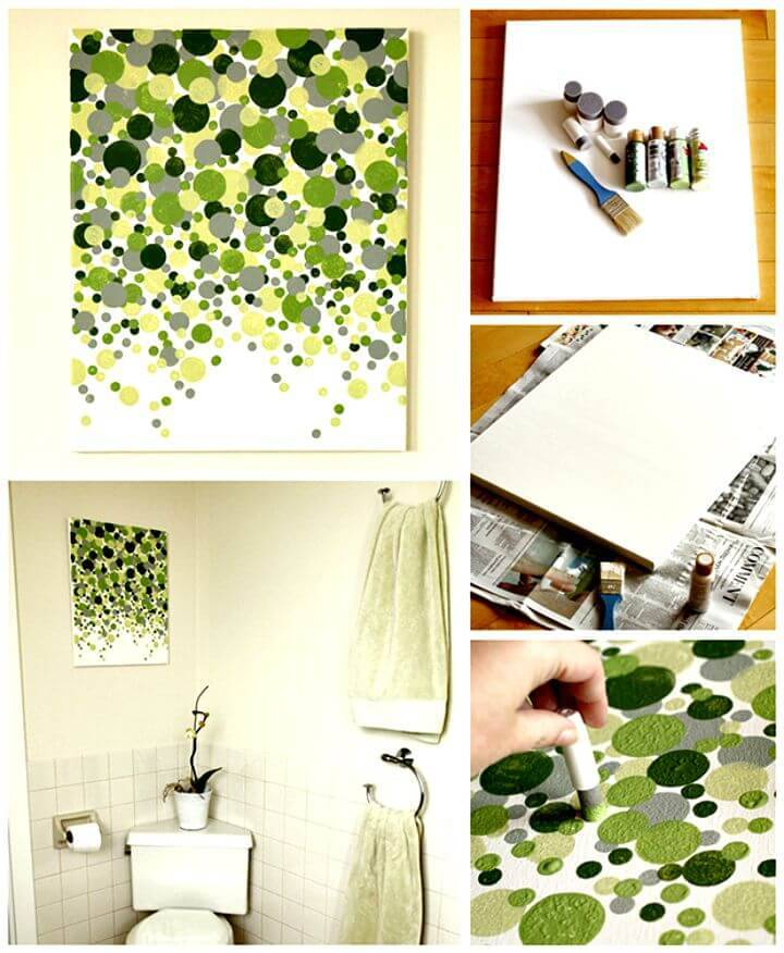Easy DIY Shades Of Geen Circles Wall Art