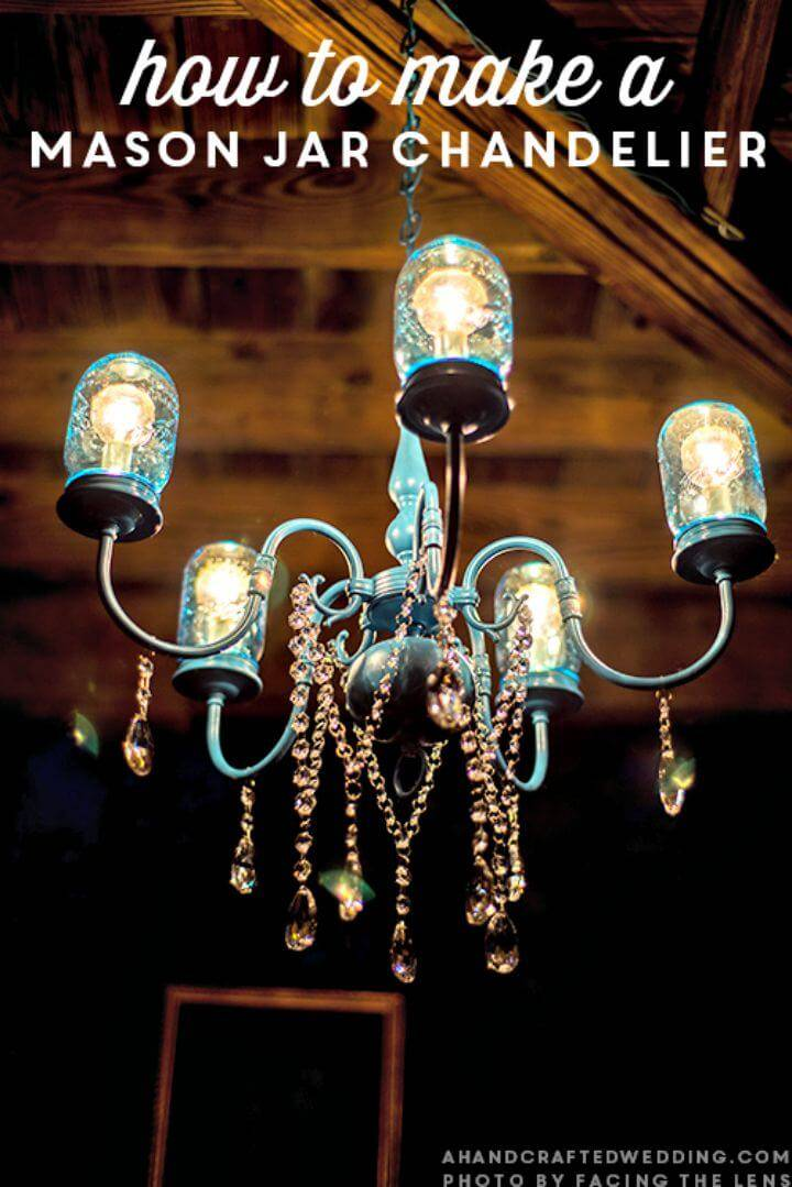 Easy How To DY Mason Jar Chandelier - DIY Mason Jar Lights