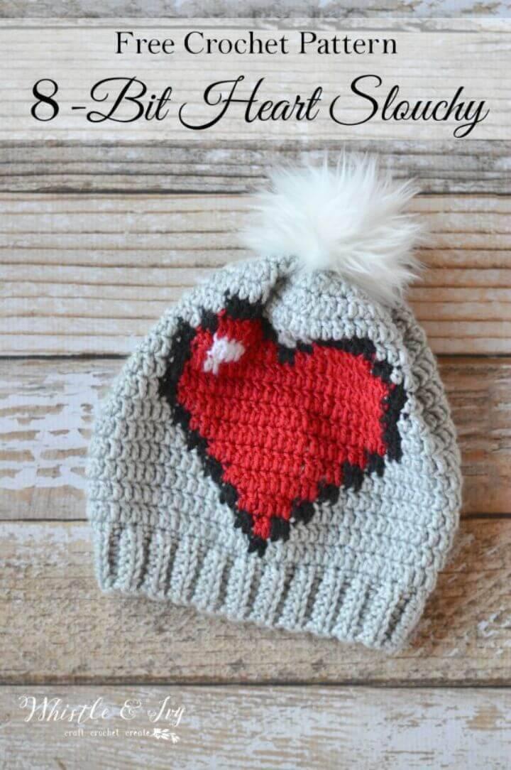 Easy Free Crochet 8-Bit Heart Slouchy Pattern
