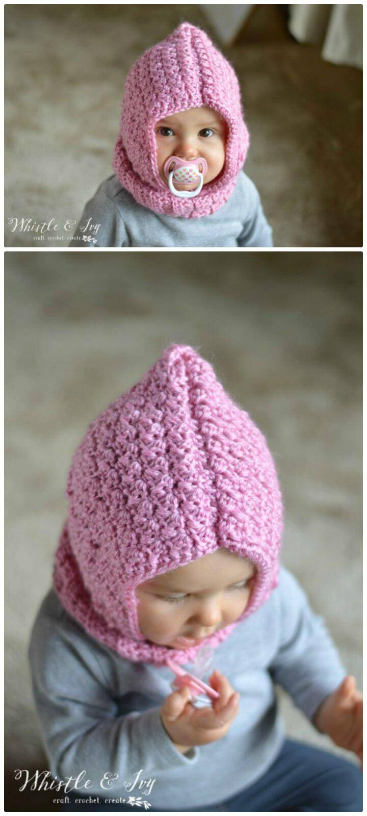 How To Easy Free Crochet Baby Hooded Cowl Pattern