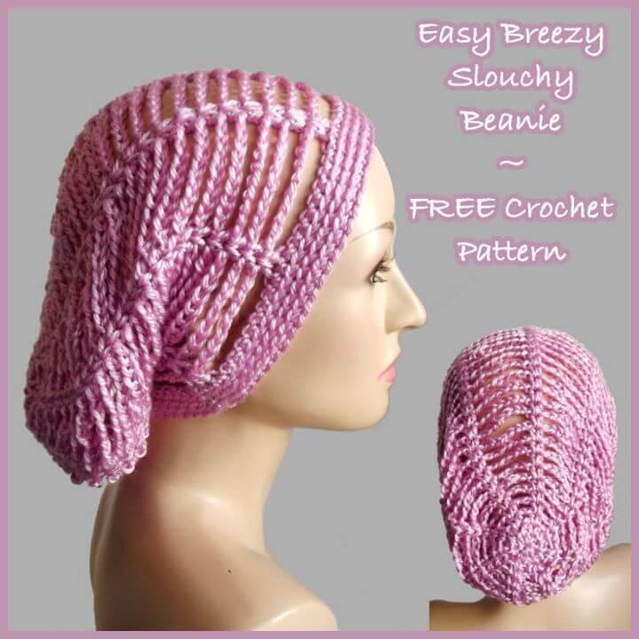 Easy Free Crochet Breezy Slouchy Beanie Pattern