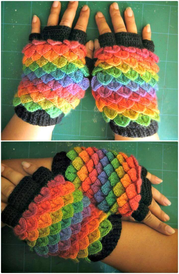 Easy Free Crochet Crocodile Finger Less Pattern
