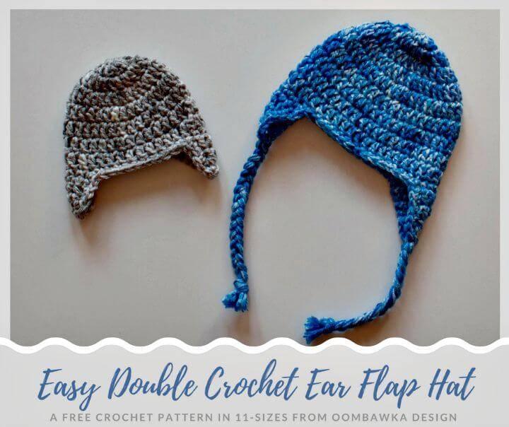 How To Free Crochet Double Ear Flap Hat Pattern