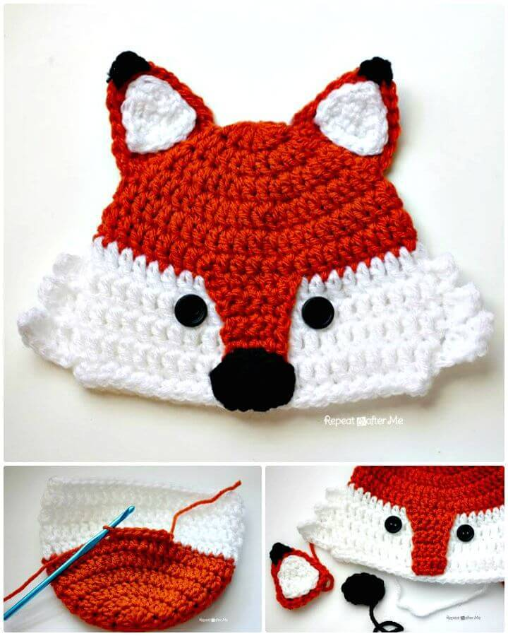 Easy Free Crochet Fox Hat Pattern