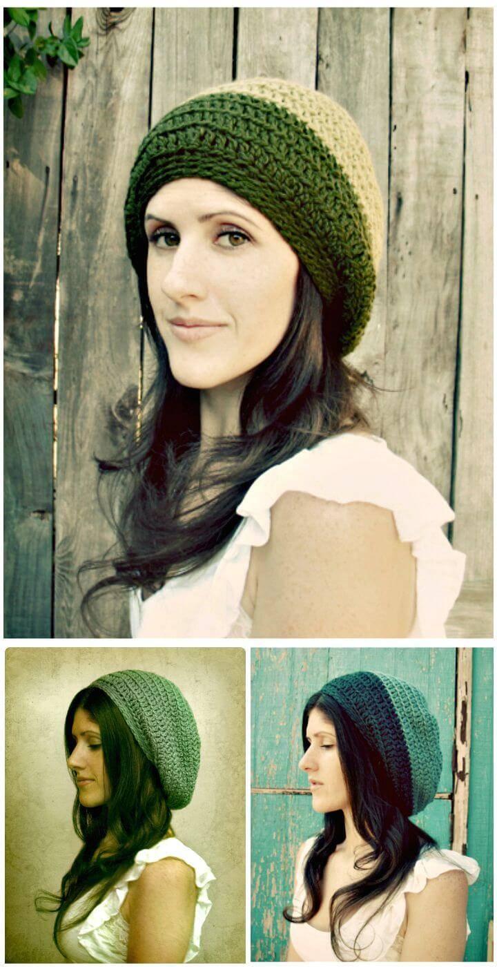 Easy Free Crochet Gumdrop Slouchy Hat Pattern