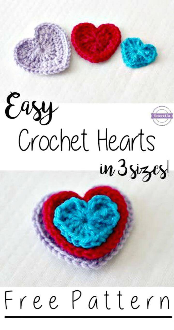 Easy Free Crochet Hearts – 3 Sizes Pattern