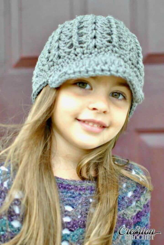 Crochet Newsboy Hat for Little Girl - Free Pattern