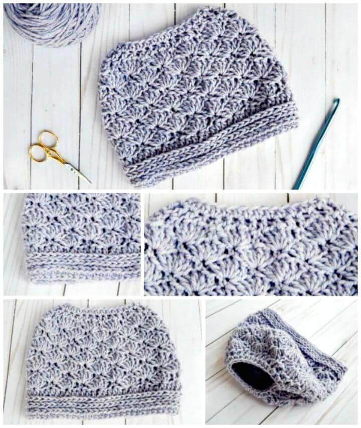Easy How To Free Crochet Seashore Messy Bun Hat Pattern
