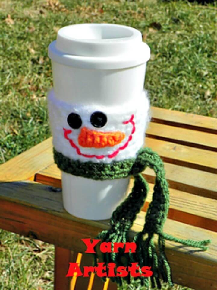 Easy Free Crochet Snowman Cup Cozy Pattern