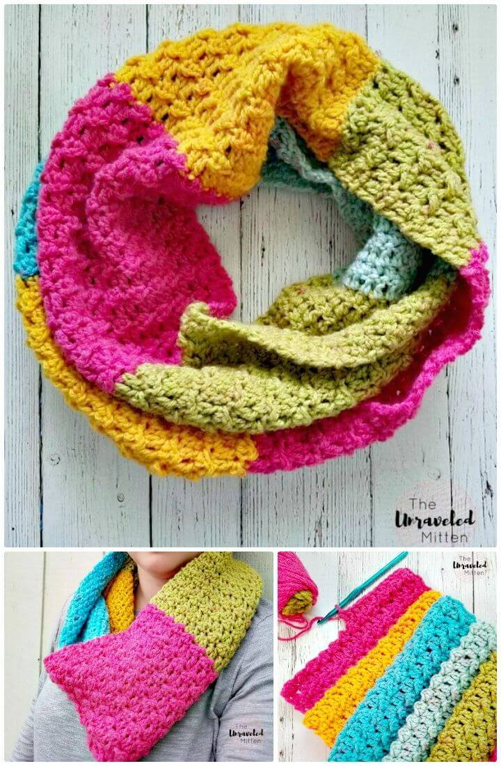 Easy Free Crochet Textured Infinity Scarf Pattern