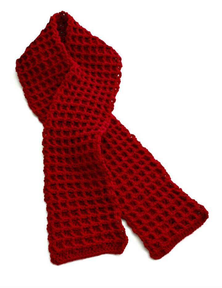 Easy How To Free Crochet Waffle Stitch Scarf Pattern