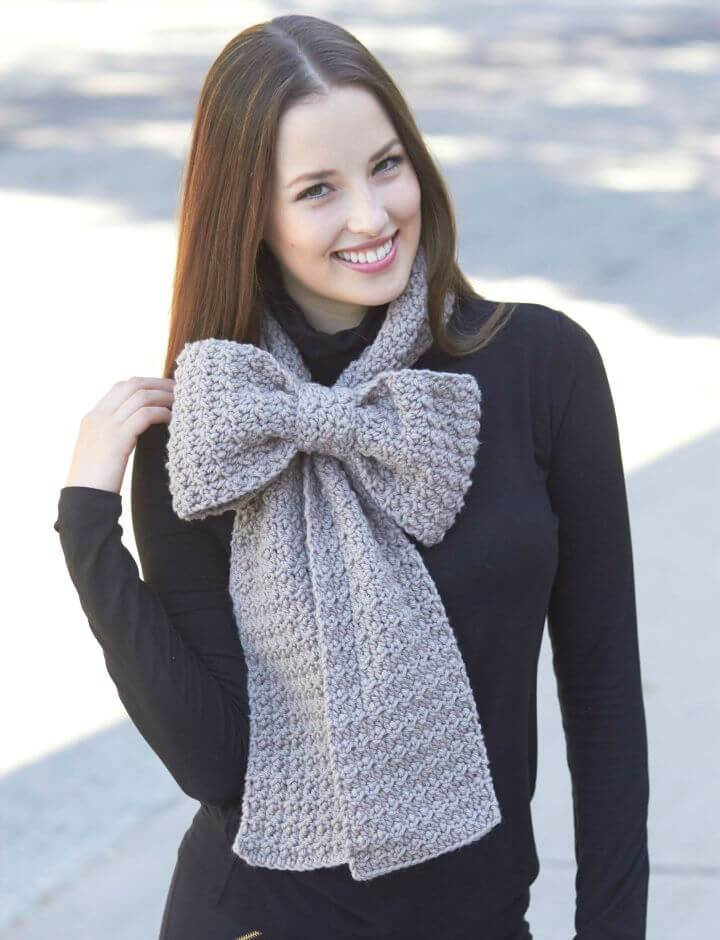 Easy Free Crochet Women's Scarf Bow Pattern