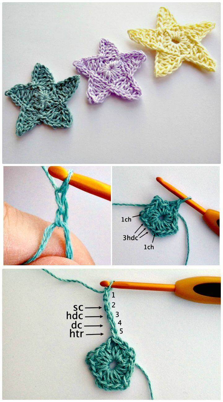 Easy Free Crocheted A Star Motif Pattern