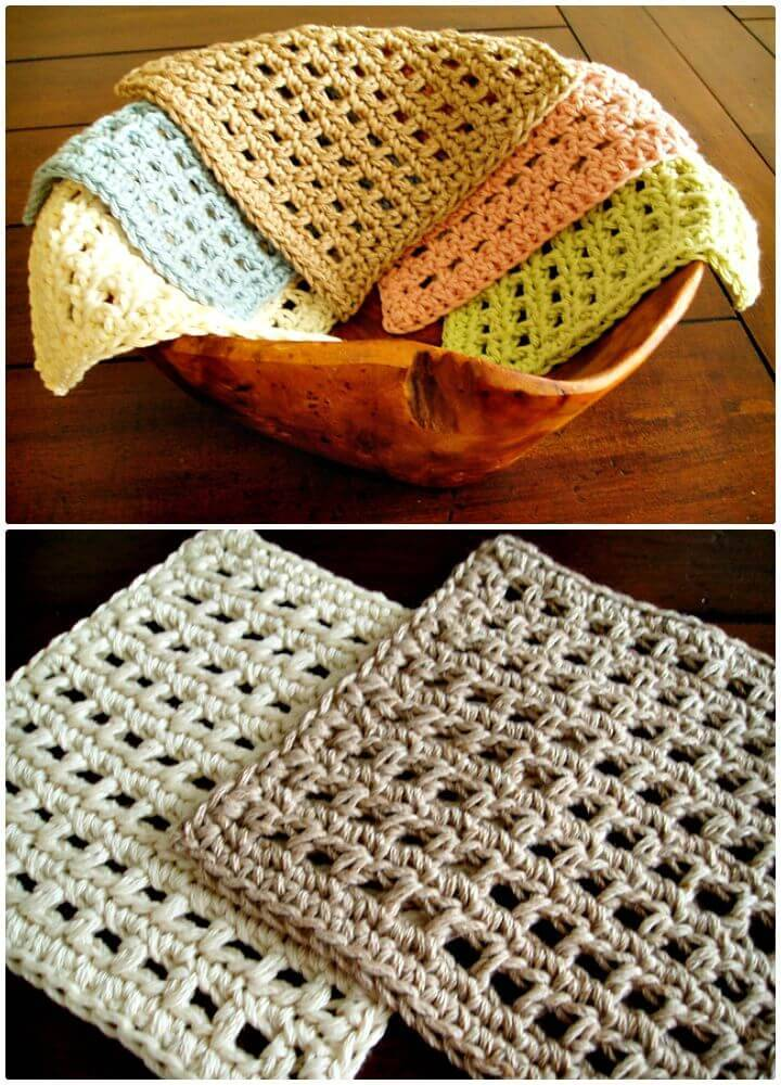 How To Free Crochet Waffle Dishcloth Pattern