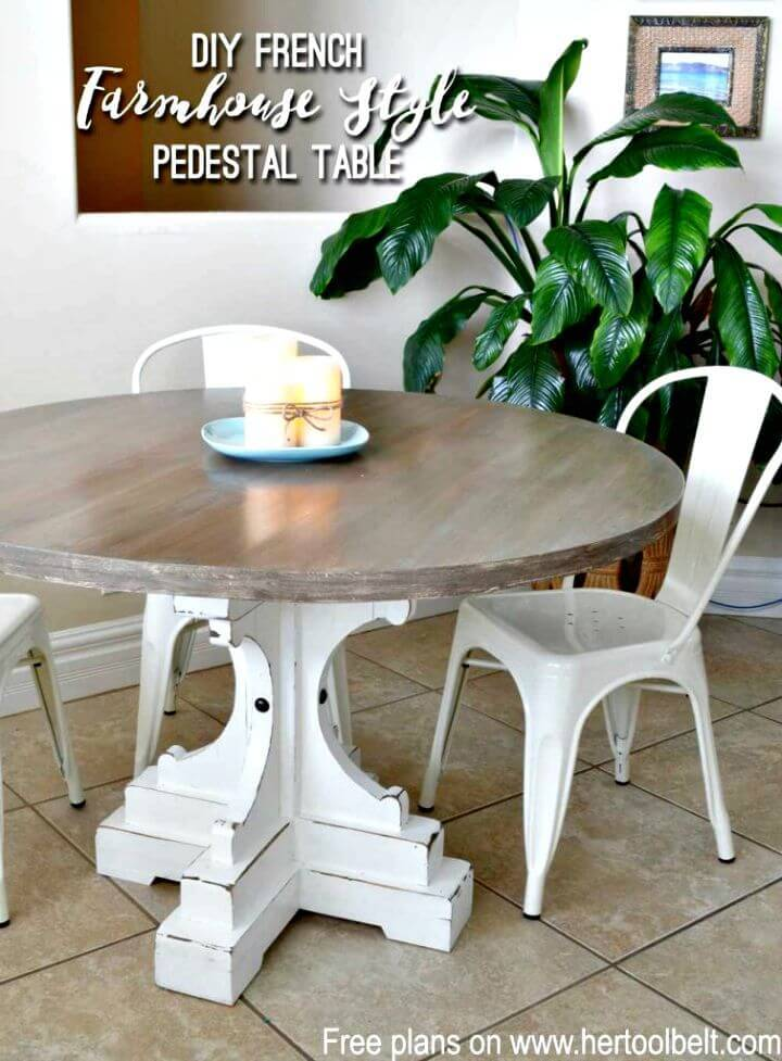 DIY Farmhouse Style Round Pedestal Table
