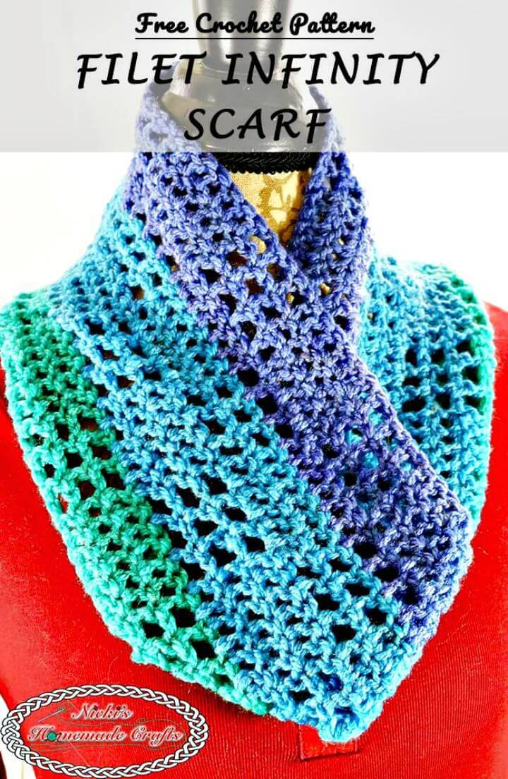 Filet Infinity Scarf - Free Crochet Pattern