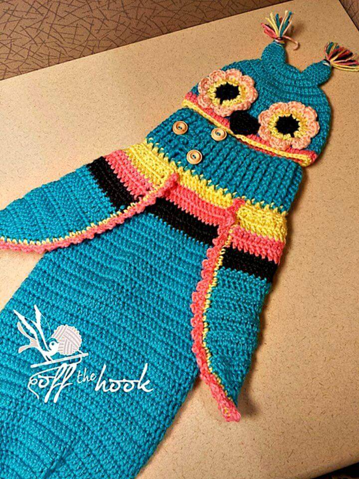 Free Crochet 3 Button Baby Owl Cocoon And Hat Pattern