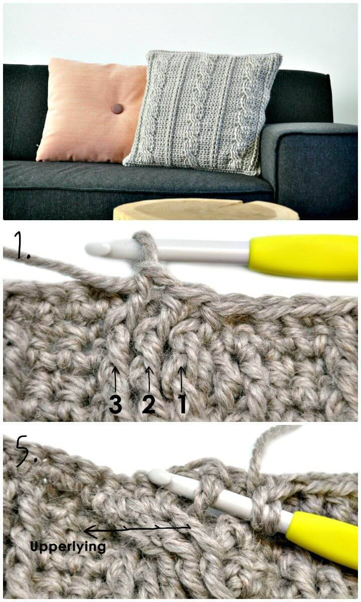 Easy Free Crochet A Cable Pillow Pattern