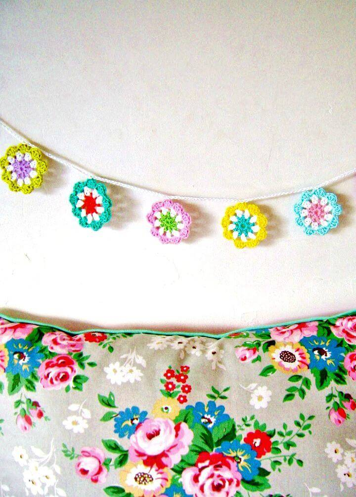 How To Free Crochet A Mini Flower Garland In Bright Colours Pattern
