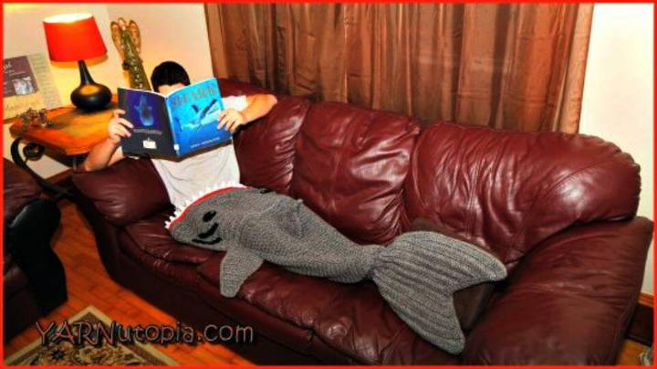 Easy Free Crochet Adult Shark Mermaid Blanket Pattern