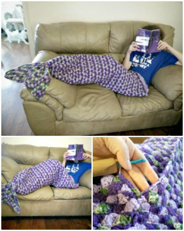 Easy Free Crochet Adult Sized Mermaid Lapghan Tail Pattern