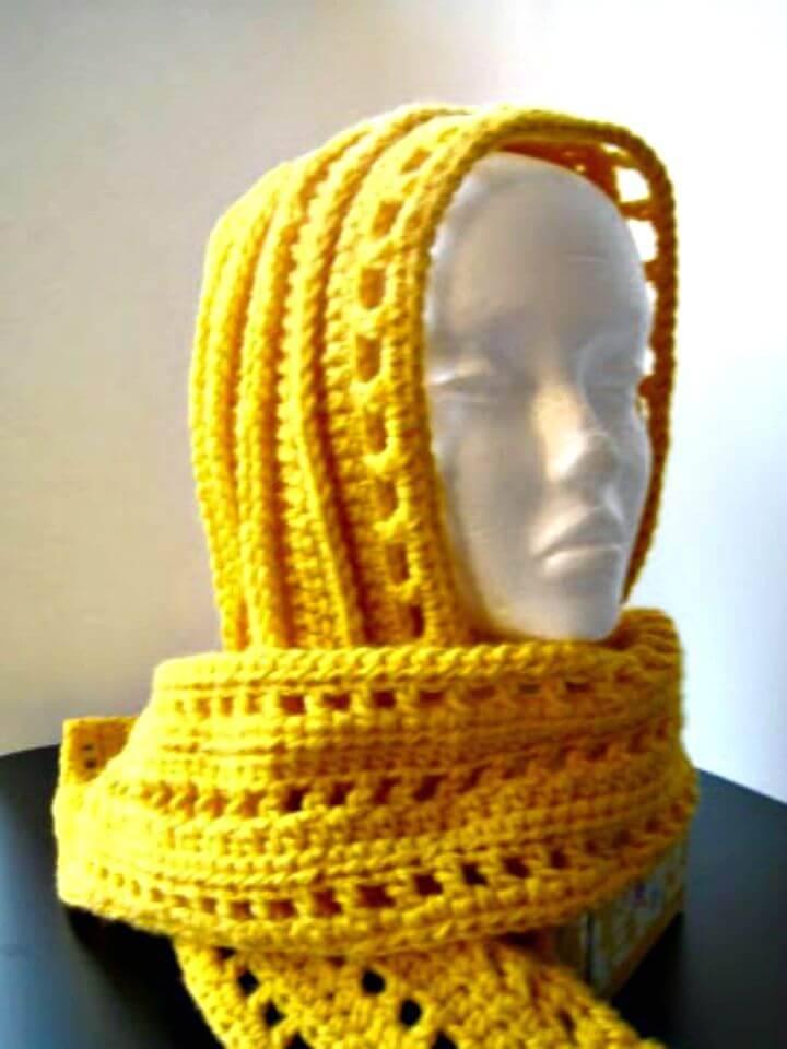 Free Crochet Aesthetic Hooded Scarf Pattern