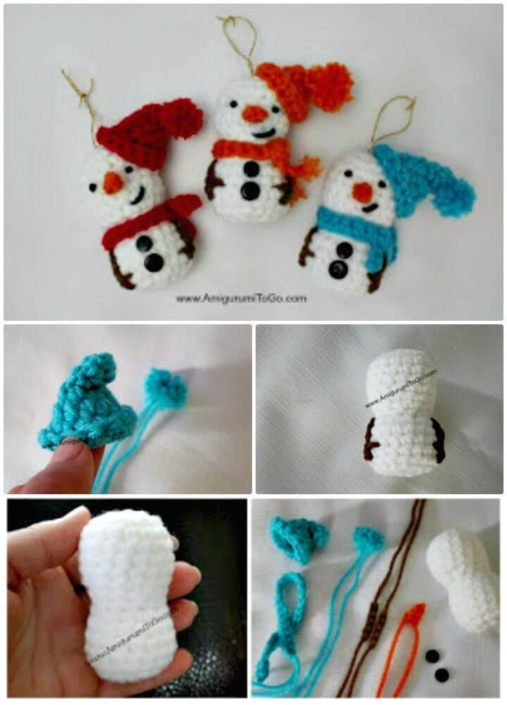 Free Crochet Amigurumi Snowman Ornament Pattern