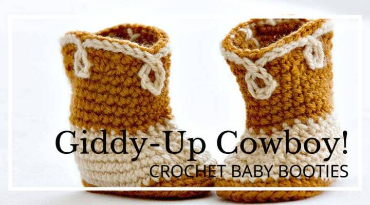 Easy Free Crochet Baby Booties Giddy-up Cowboy Pattern