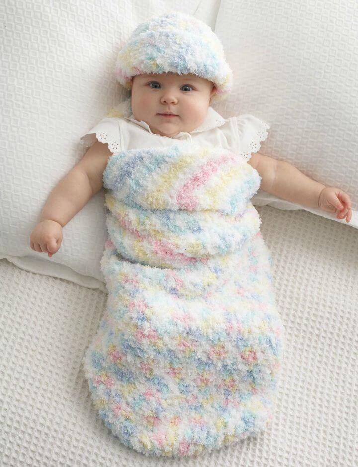 Easy Free Crochet Baby Cocoon And Hat Pattern