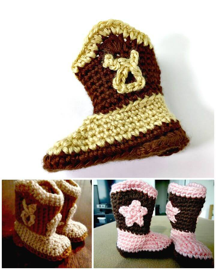 Easy Free Crochet Baby Cowboy Booties Pattern