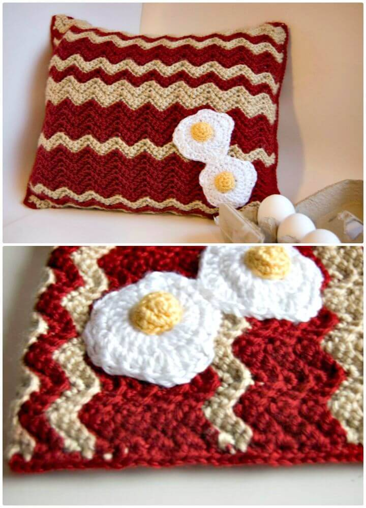 Crochet Bacon And Eggs Pillow - Free Pattern