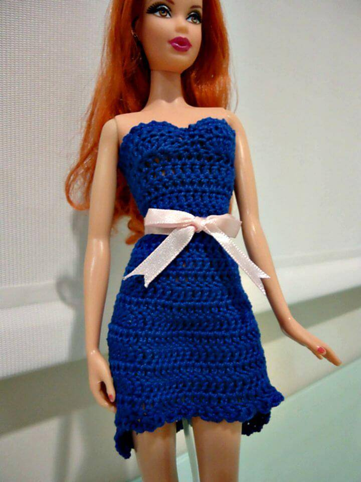 Easy Crochet Barbie High Low Cocktail Dress - Free Pattern