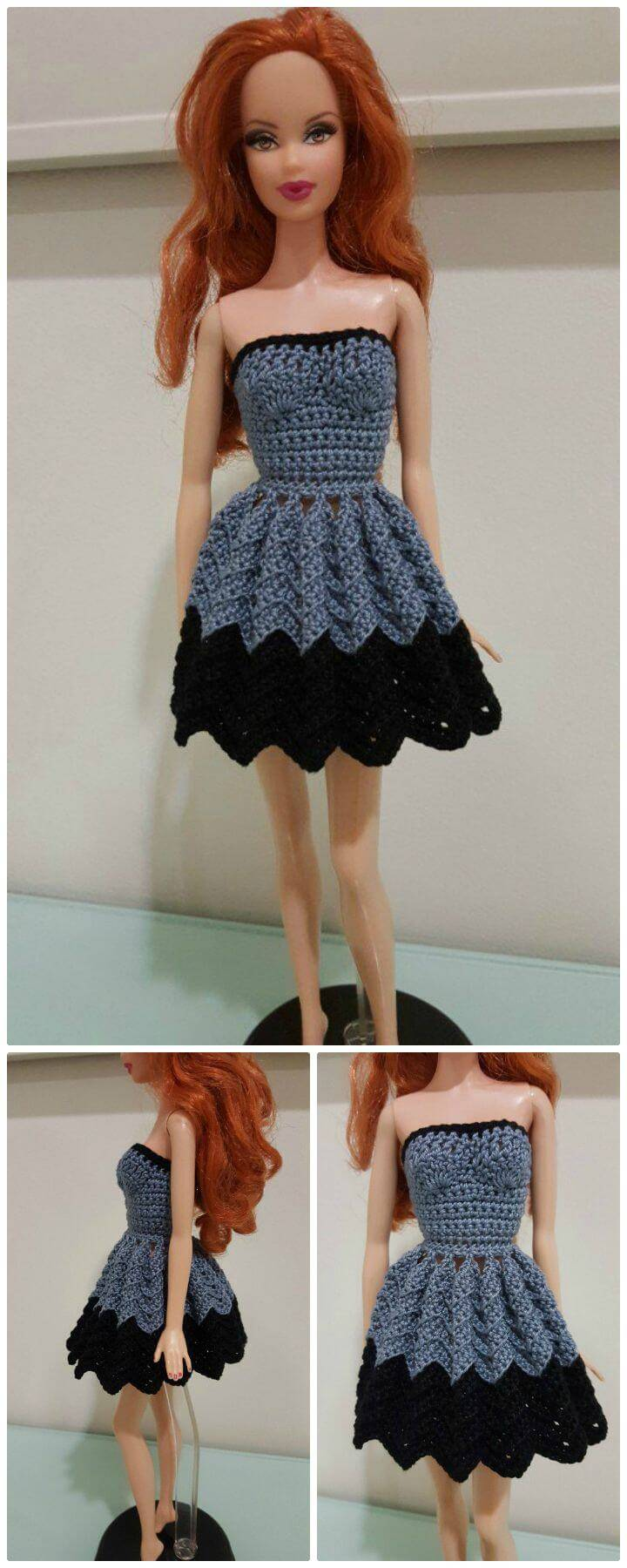 How To Free Crochet Barbie Strapless Chevron Dress Pattern
