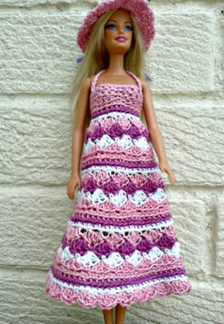 Free Crochet Barbie Summer Dress And Hat Pattern