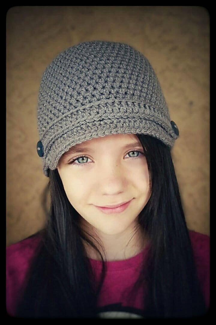 Crochet Basic Newsboy Hat for Little Princes