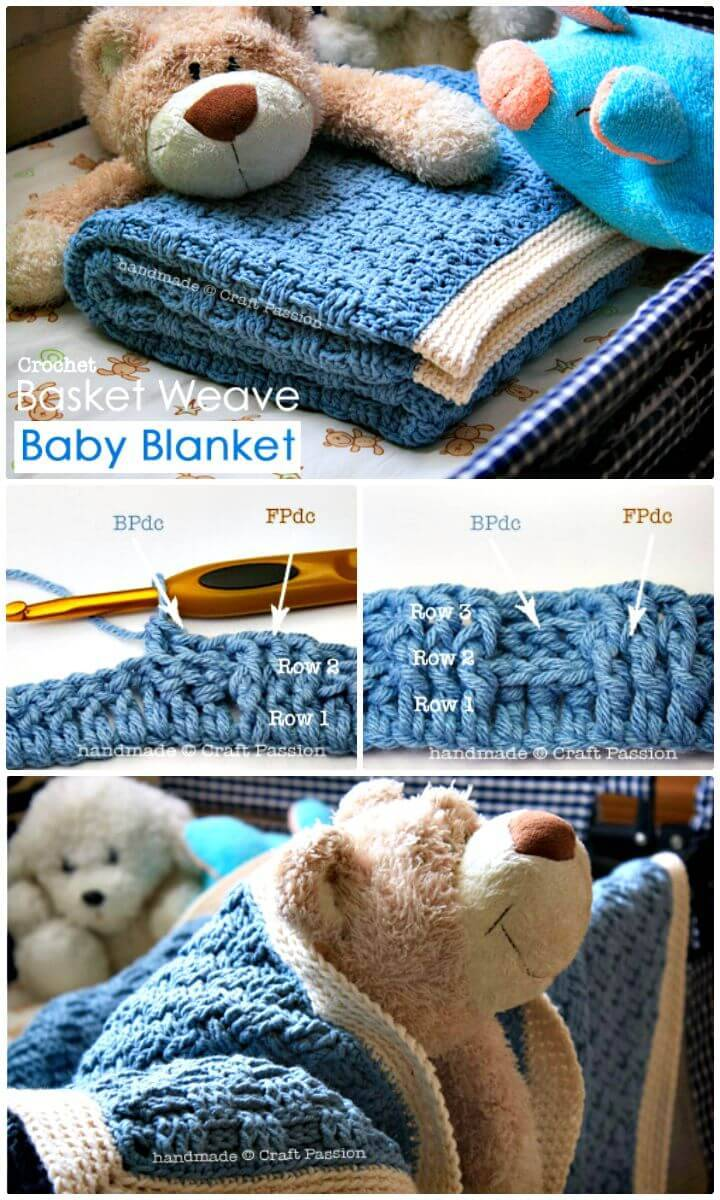 Easy Free Crochet Basket Weave Baby Blanket Pattern
