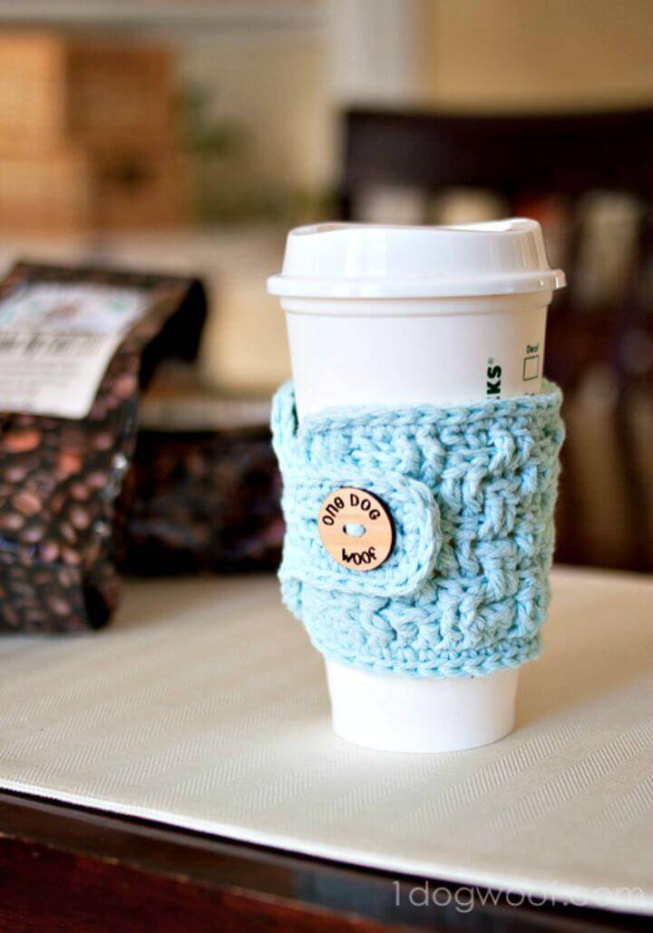 Crochet Basket Weave Cup Cozy - Free Pattern