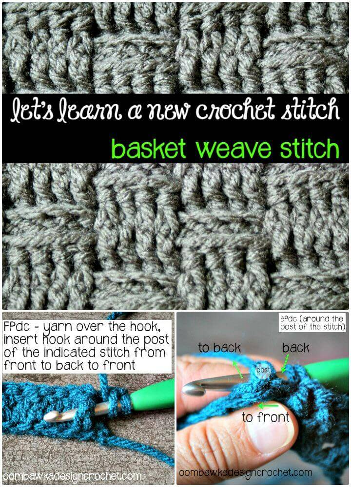 25 Free Crochet Basket Weave Stitch Patterns Diy Crafts
