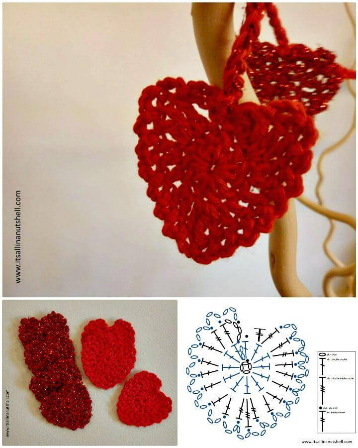 Easy Free Crochet Be My Valentine Heart Garland Pattern