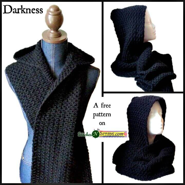 Free Crochet Black Hooded Scarf Pattern